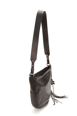 LARGE ZIP CLOSURE LEATHER BAG, BLACK