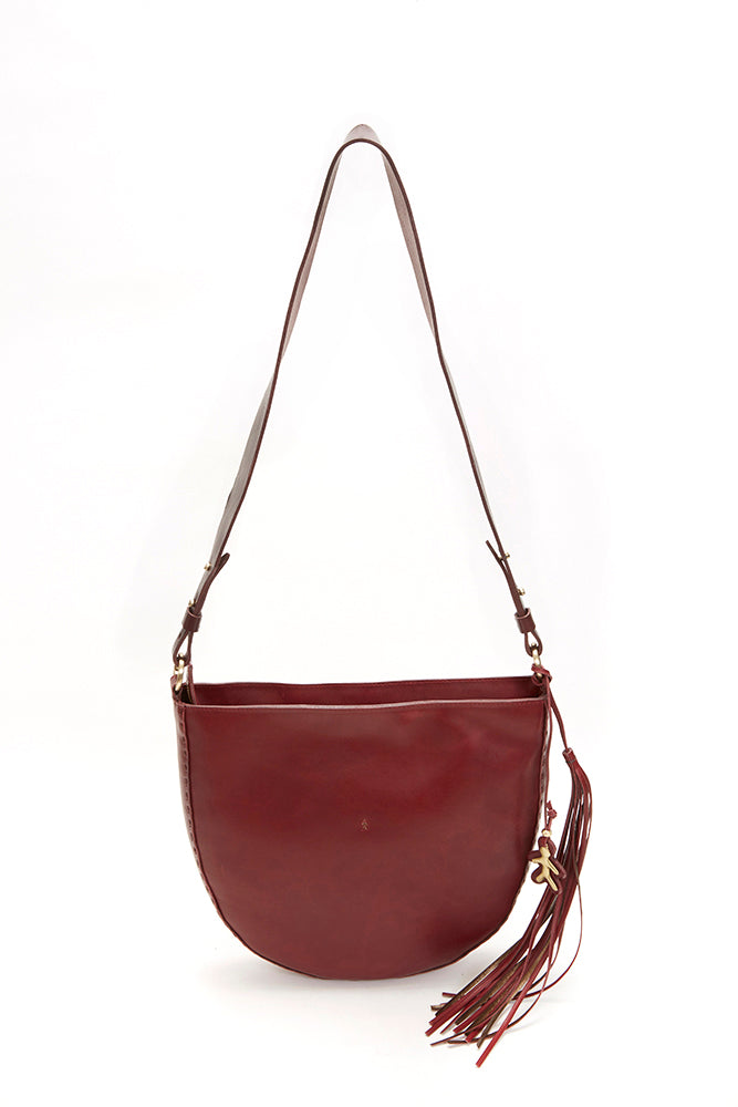 LARGE ZIP CLOSURE LEATHER BAG, BROWN