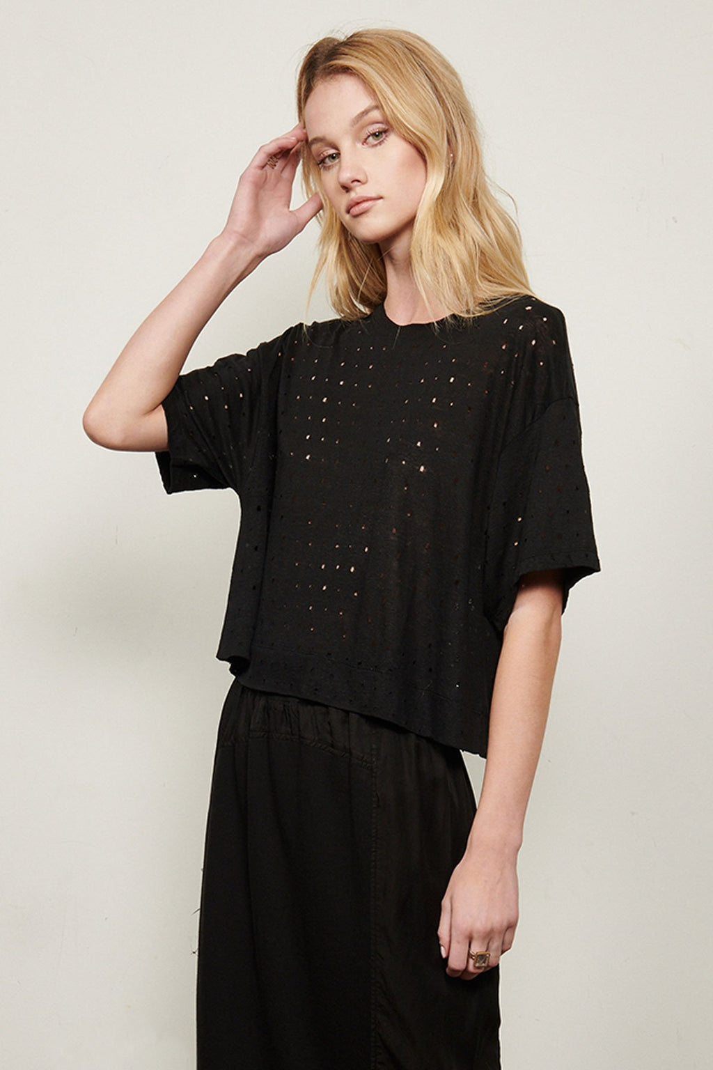 Exclusive Laser Cut Distressed Linen Tee in Black by Burning Torch