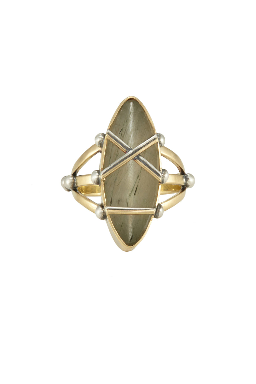 SHIBARI RING TOURMALINATED QUARTZ NAVETTE