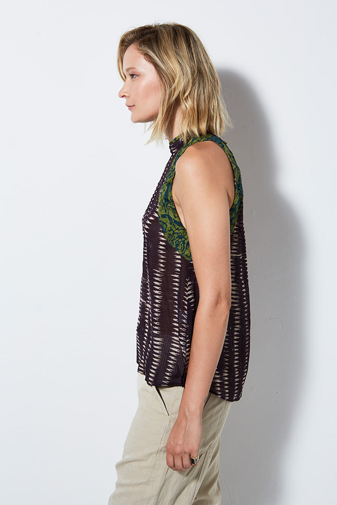 SIREN SILK PRINT TANK | BURNING TORCH | WOMEN'S SILK TOP