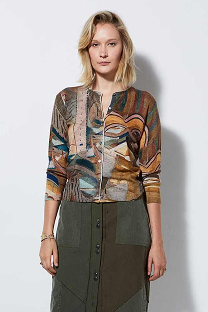 VIEW PRINTED CASHMERE CARDIGAN, MACARON | BURNING TORCH
