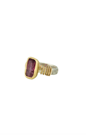 Tsutsumi Pink Tourmaline 14kt Gold Ring