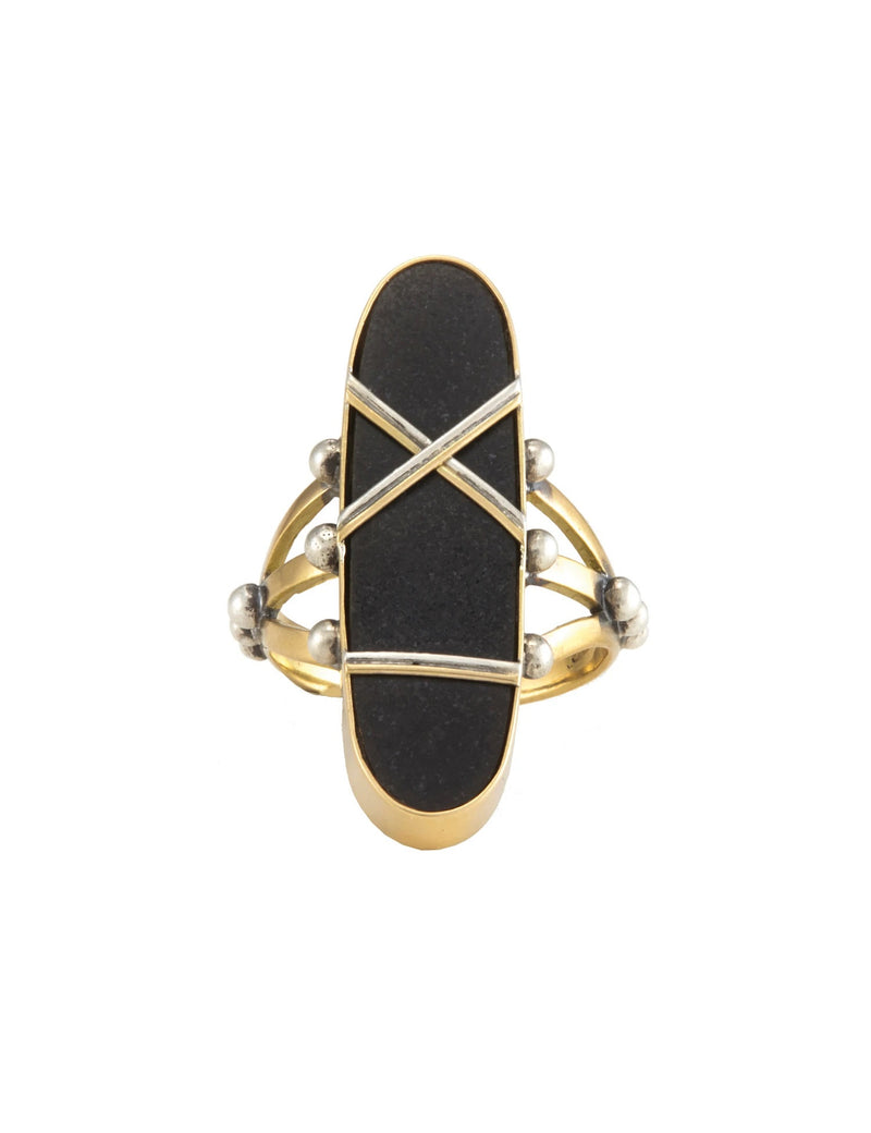 SHIBARI RING MAYAN JADE - BLACK