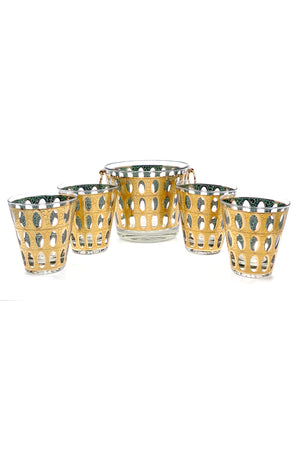 CULVER MID-CENTURY PISA ICE BUCKET & GLASSES SET