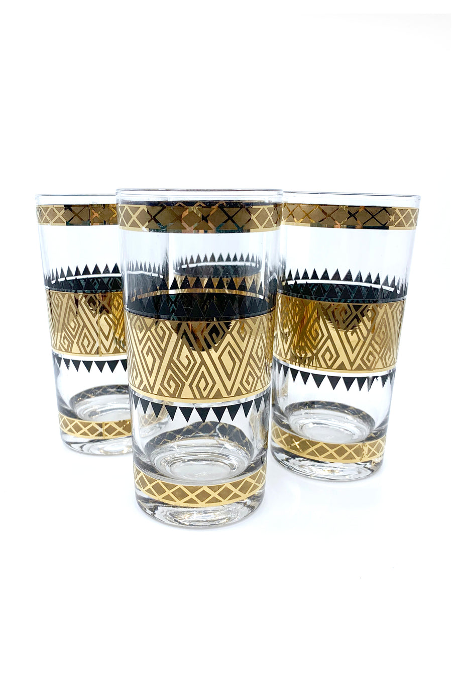 CULVER MID-CENTURY SET OF FOUR GEOMETRIC GLASSES