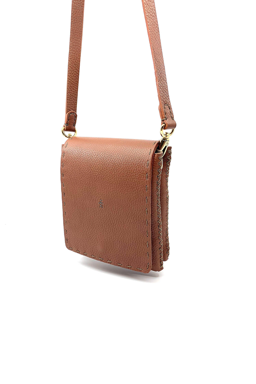 HENRY BEGUELIN COGNAC LEATHER SQUARE BAG