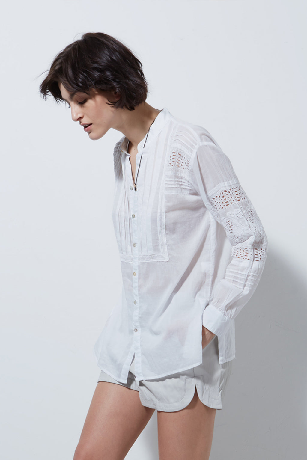 TOLUCA LONG SLEEVE EYELET SHIRT, WHITE