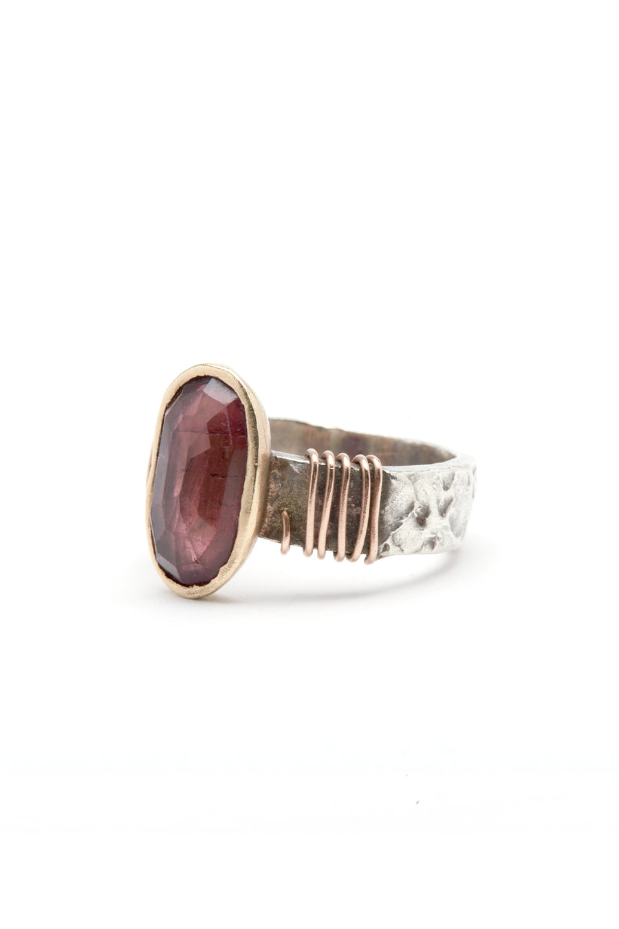 Tsutsumi Wine Tourmaline 14kt Gold Ring