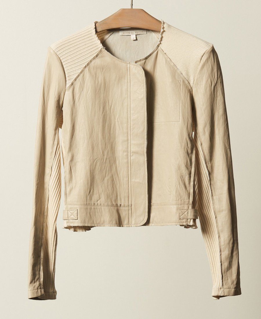 WASHED LEATHER MOTO, IVORY