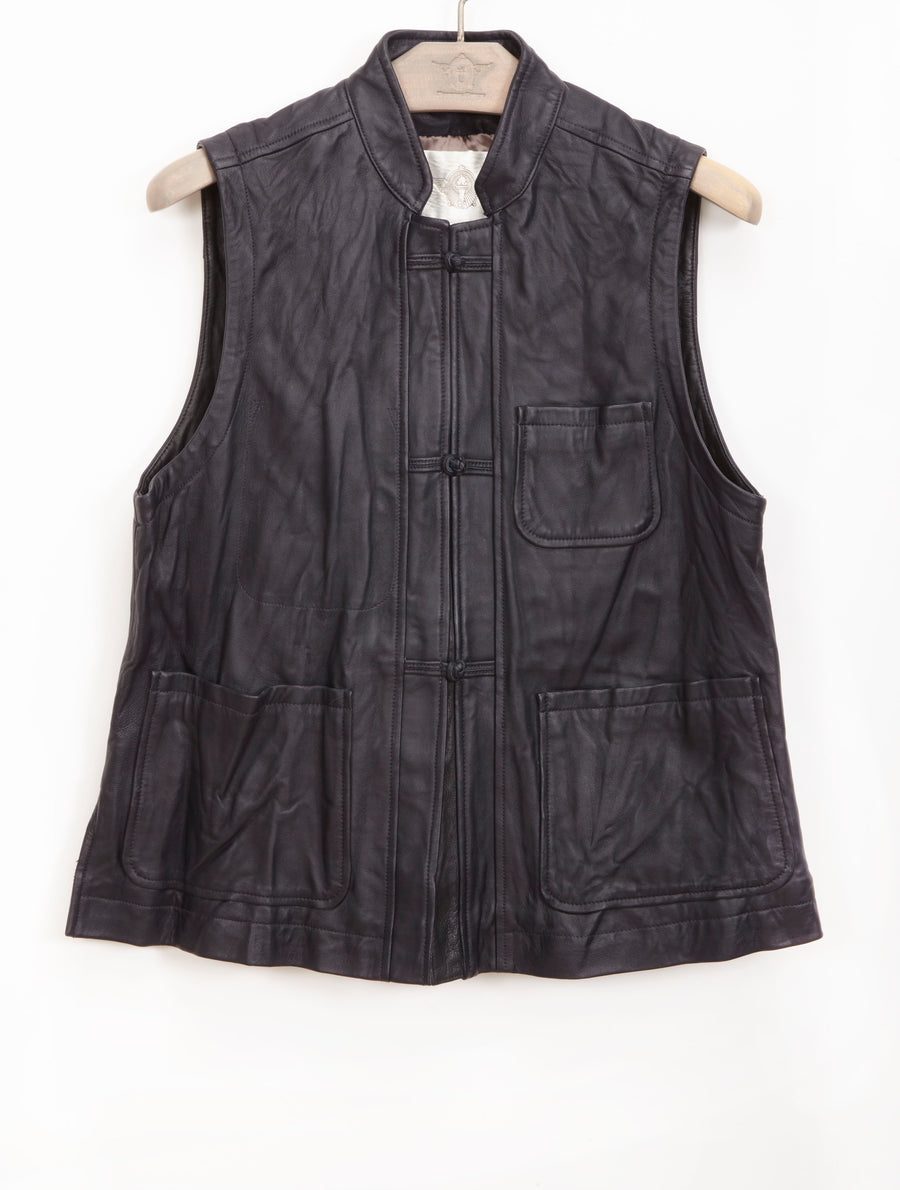 KNOTTED BUTTON LEATHER VEST, MIDNIGHT