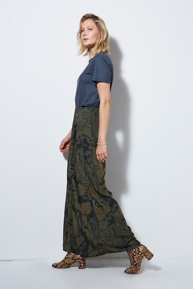 ATLANTIS PRINT WIDE LEG PANT, ARMY