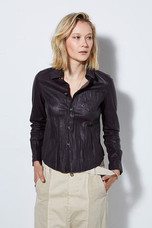 Incline Washed Leather Shirt in Plum