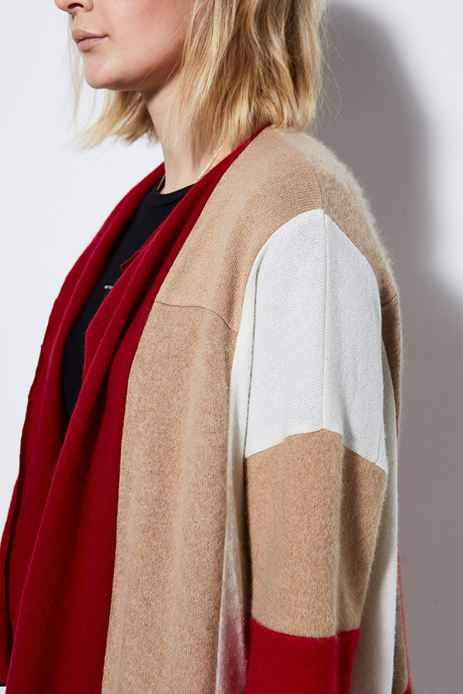 FIRESIDE UPCYCLED CASHMERE LONG CARDIGAN, CRIMSON