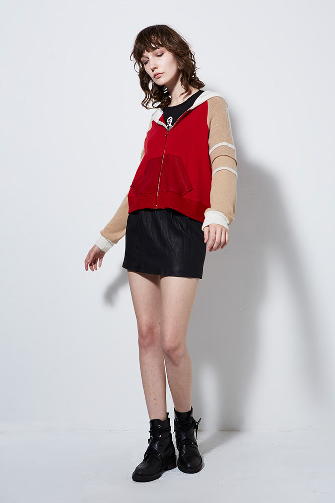 FIRESIDE UPCYCLED CASHMERE ZIP HOODIE, CRIMSON
