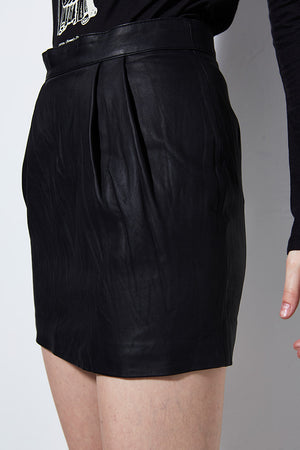 WASHED LEATHER MINI SKIRT | Burning Torch | Women's Black Skirt