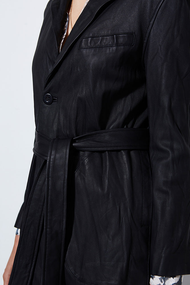 BLACK LEATHER TRENCH COAT | Burning Torch | Women's Trench Coat