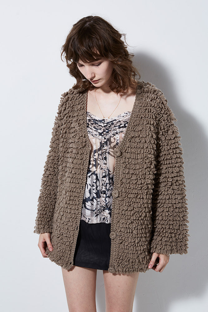 WILD THING WOOL OVERSIZE CARDIGAN, TAUPE