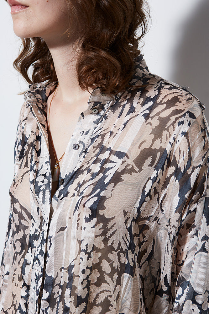 AURORA SILK PRINT LONG SLEEVE BLOUSE
