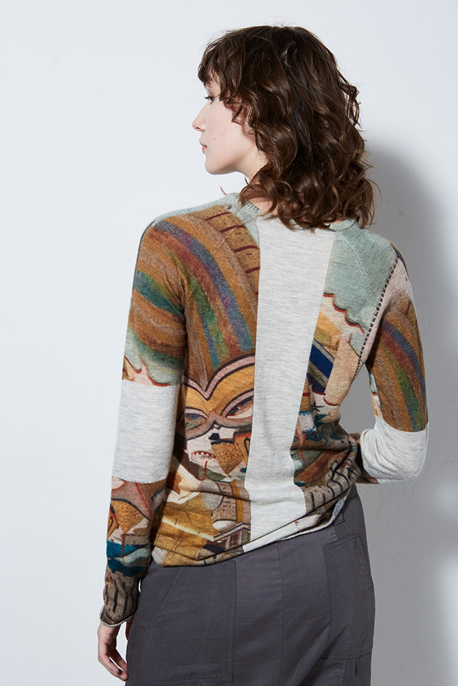 VIEW PRINTED CASHMERE PULLOVER, MACARON