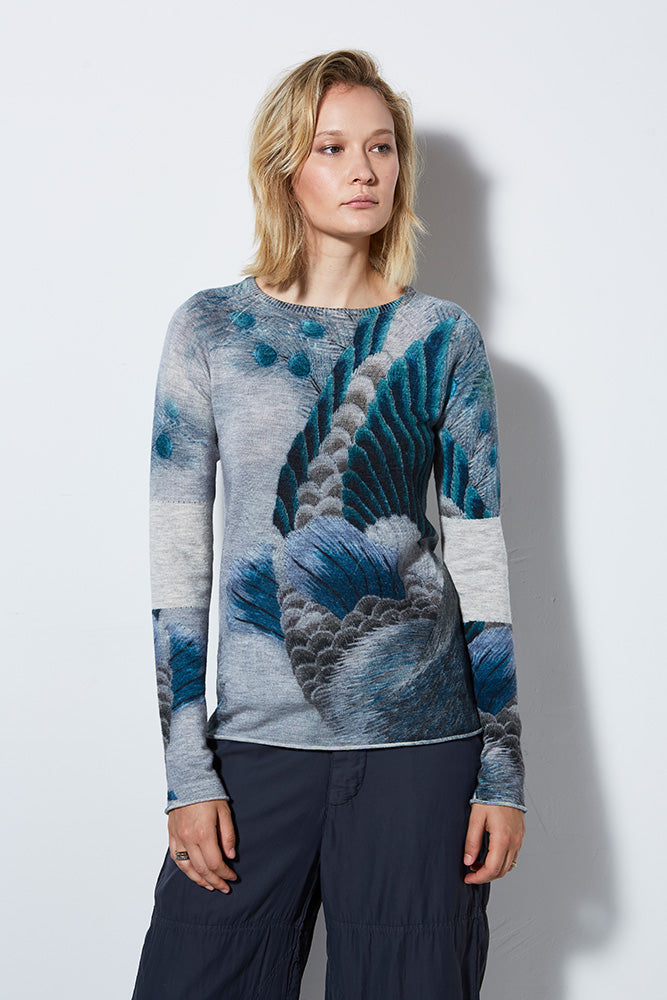 VIEW PRINTED CASHMERE PULLOVER, PEACOCK