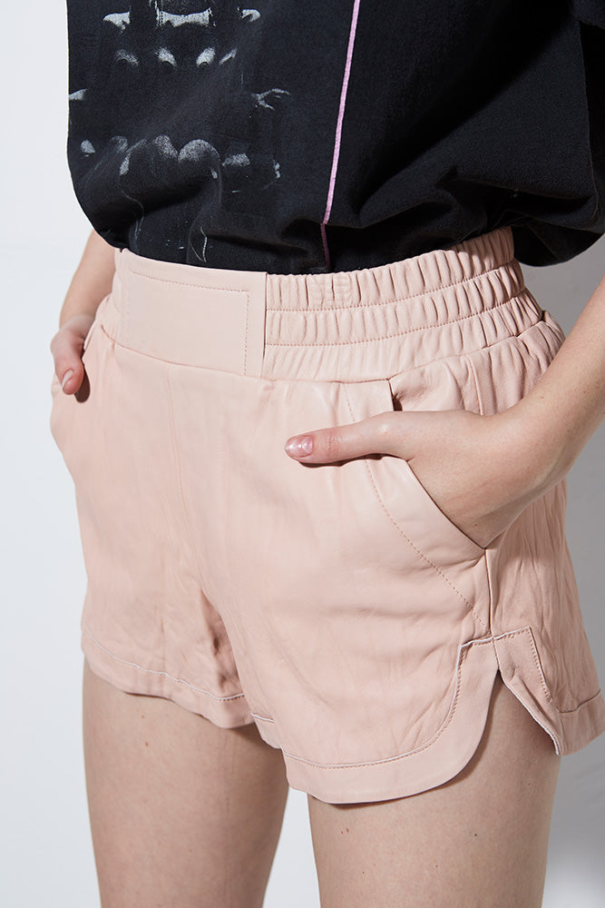 WASHED LEATHER SHORT- BLUSH