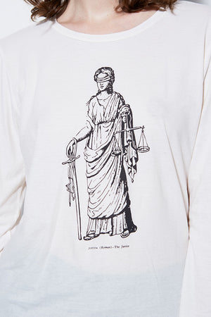 GRAPHIC TEE LADY JUSTICE LONG SLEEVE, VINTAGE WHITE
