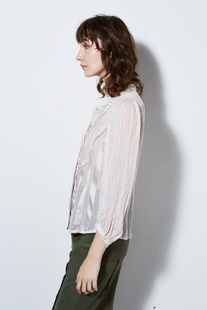 LUCID LONG SLEEVE RUFFLE BLOUSE, POWDER