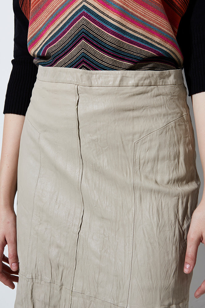WASHED LEATHER SKIRT, SHALE