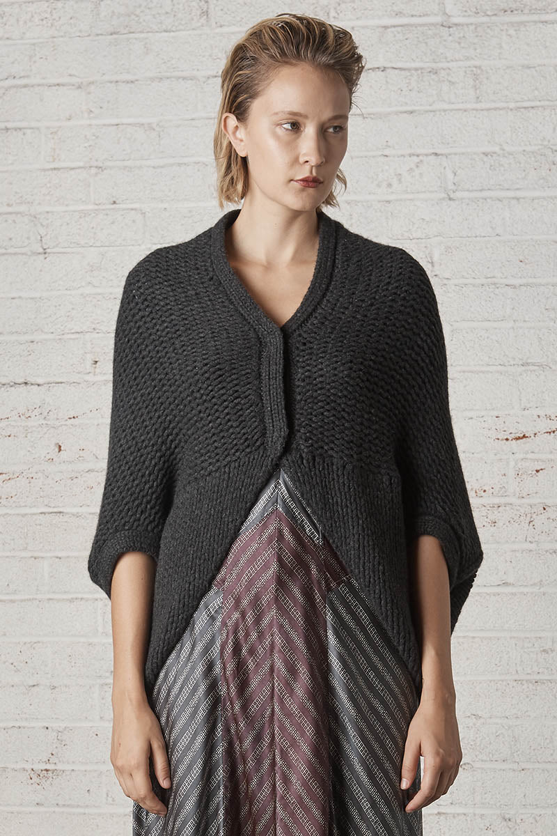 Isle of Mann Cashmere Bolero Sweater Charcoal