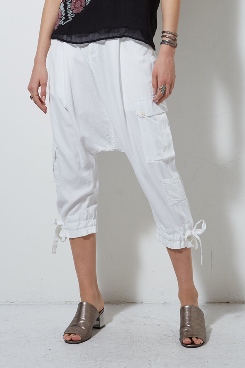 LINCOLN DROP CROTCH CARGO PANT,  WHITE