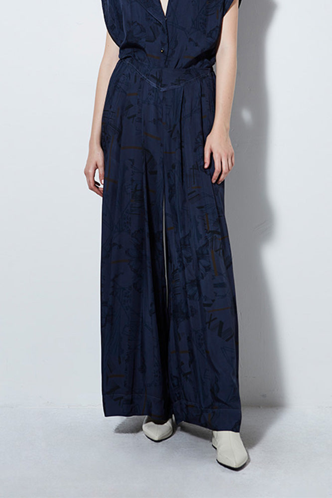 ATLANTIS PRINT WIDE LEG PANT, STEEL