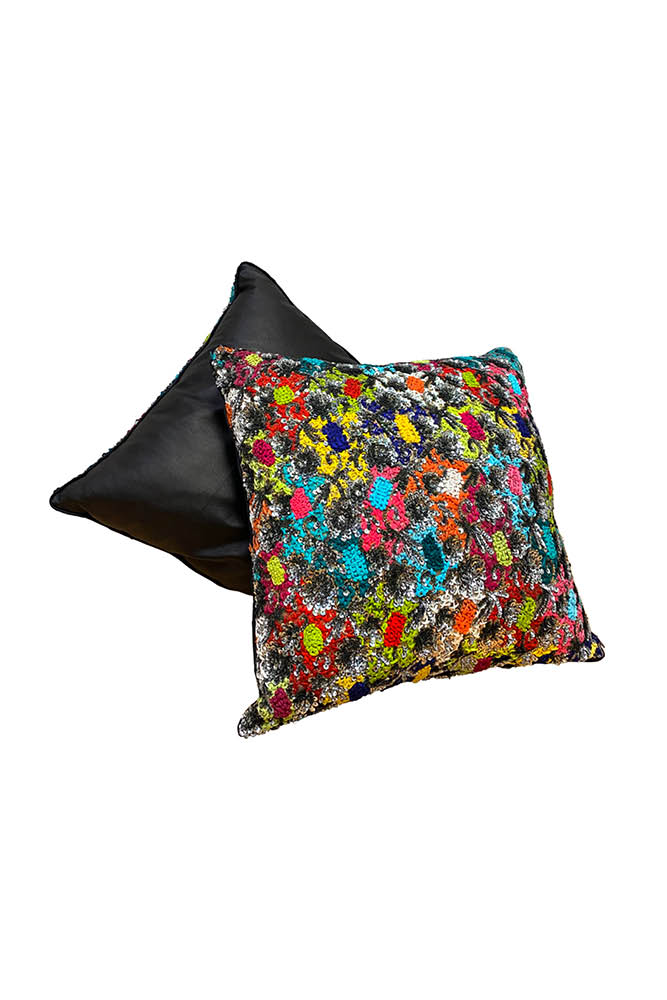 HEAVY EMBROIDERY SEQUIN AND LEATHER PILLOW