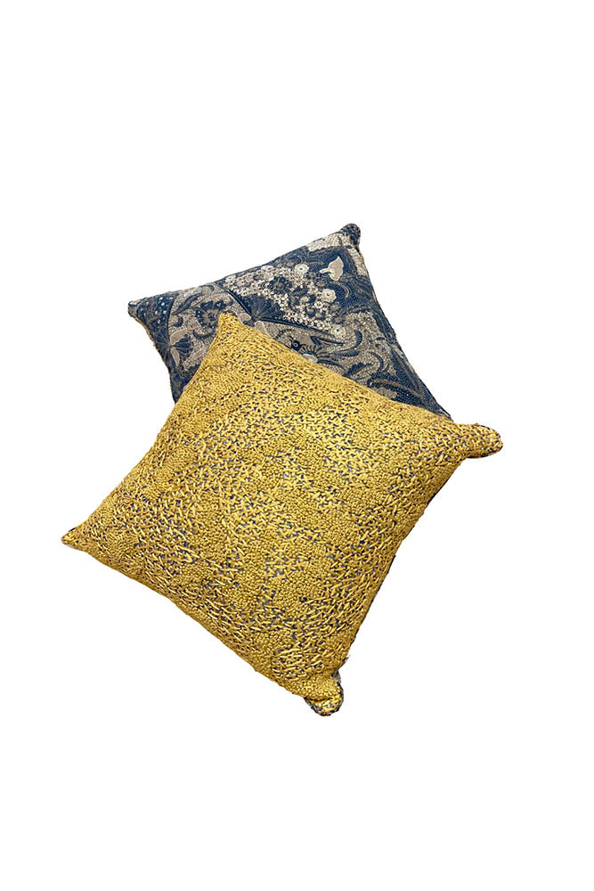 HEAVY EMBROIDERY AND VINTAGE BATIK PILLOW