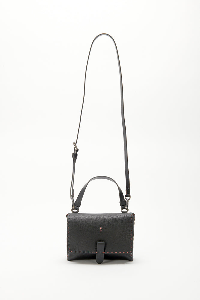 HENRY BEGUELIN CONTRAST STITCH HORIZONTAL BAG, BLACK