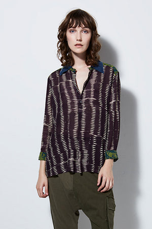 SIREN SILK PRINT BLOUSE | BURNING TORCH | SILK BLOUSE