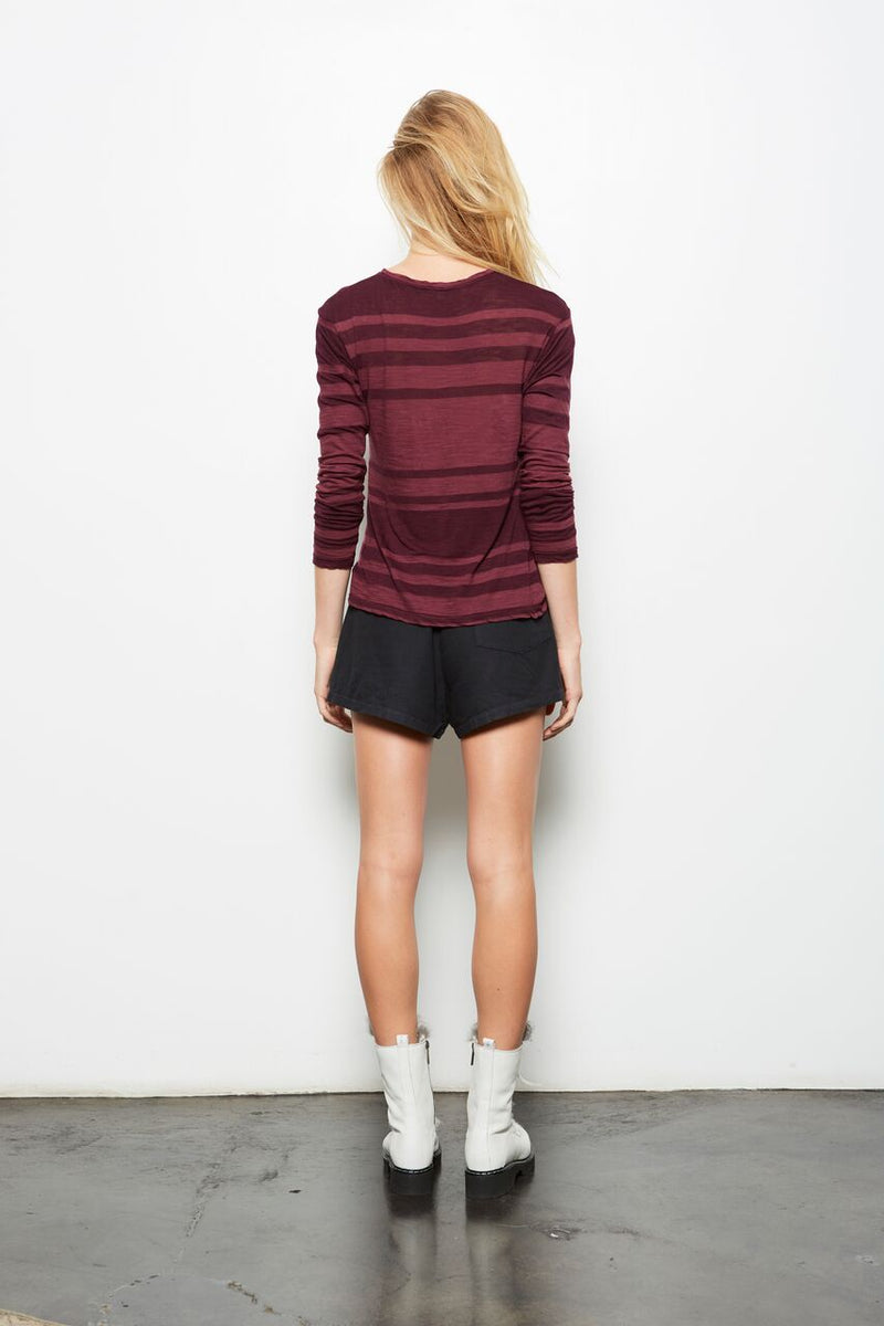 TOKI STRIPED LONG SLEEVE TOP MULBERRY