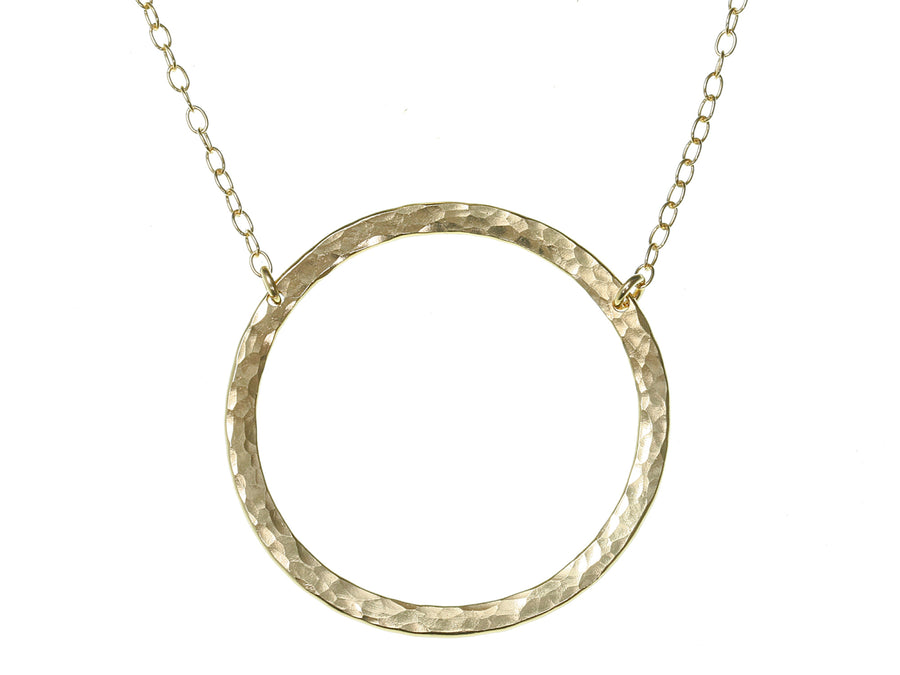 Large Gold Open Circle Necklace