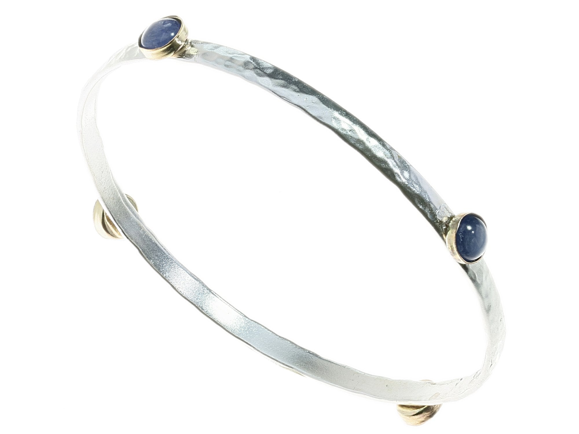 Silver Bangle with 4 Lapis Stones