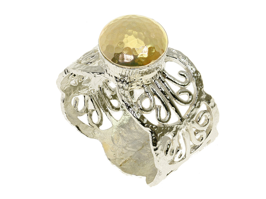 Silver and Gold Chunky Ring