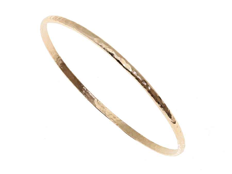 Yellow Gold Hammered Bangle