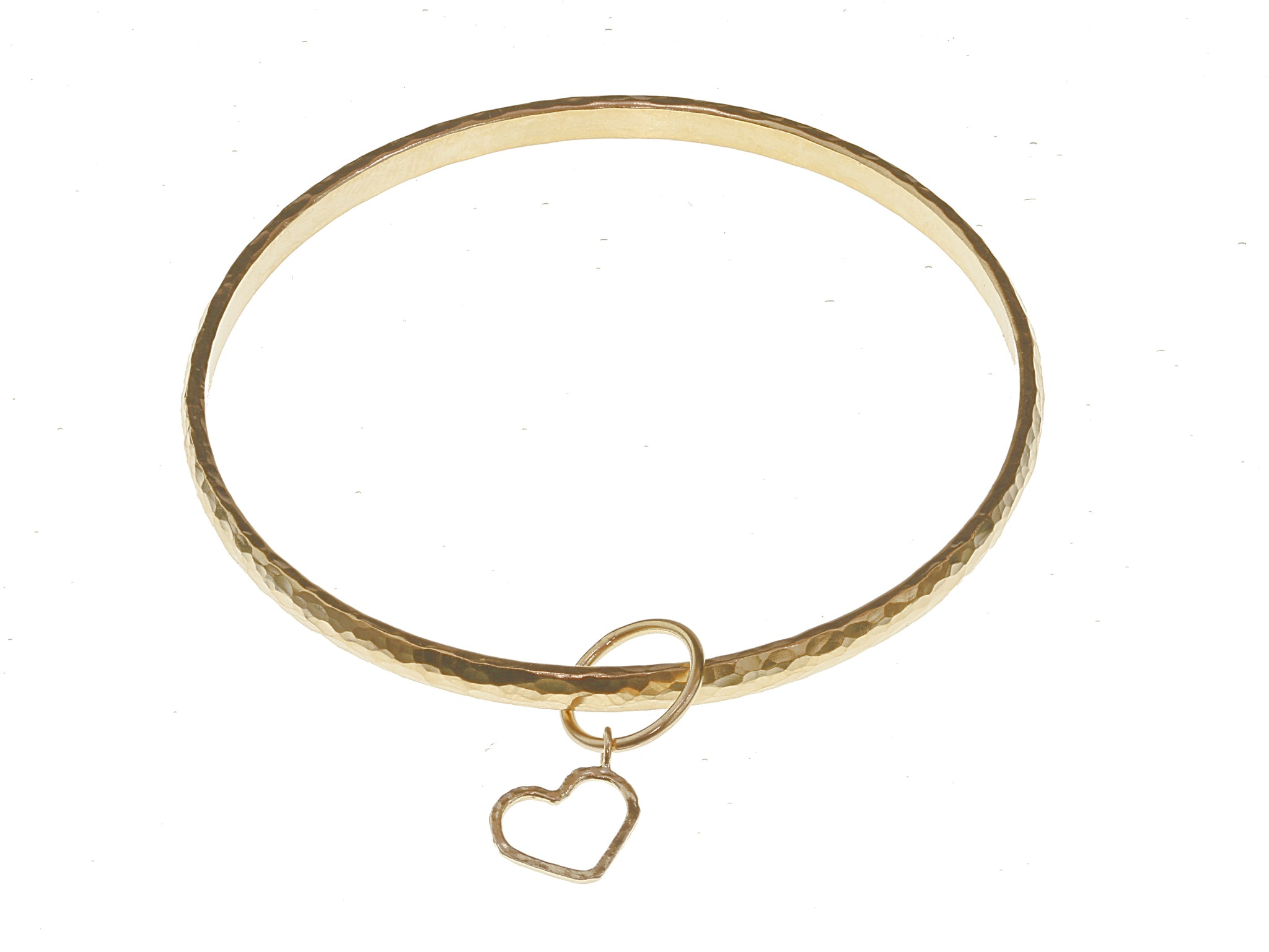 Hammered Bangle with Heart Charm