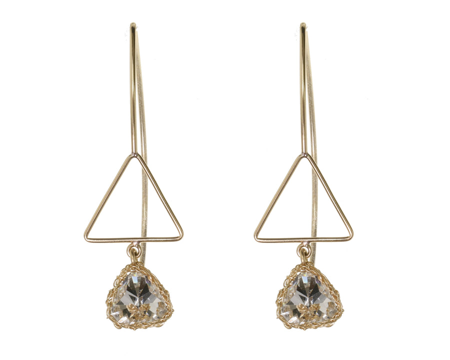 Triangle Crystal Drop Earrings