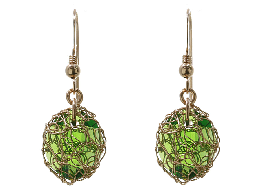 Peridot Green Drop Crochet Earring