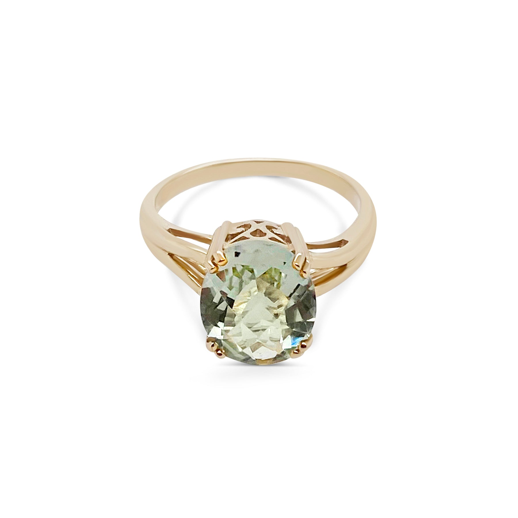 Green Amethyst Oval Ring