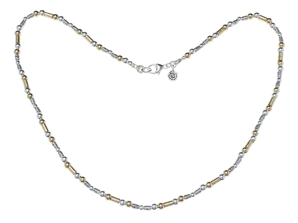 Gold and silver tube necklace