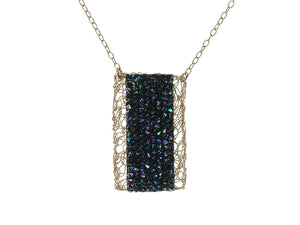 Crochet Rectangular Pendant with Emerald Druzy Stone