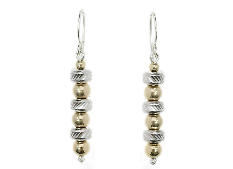 Two Tone Tube and Bead Earrings