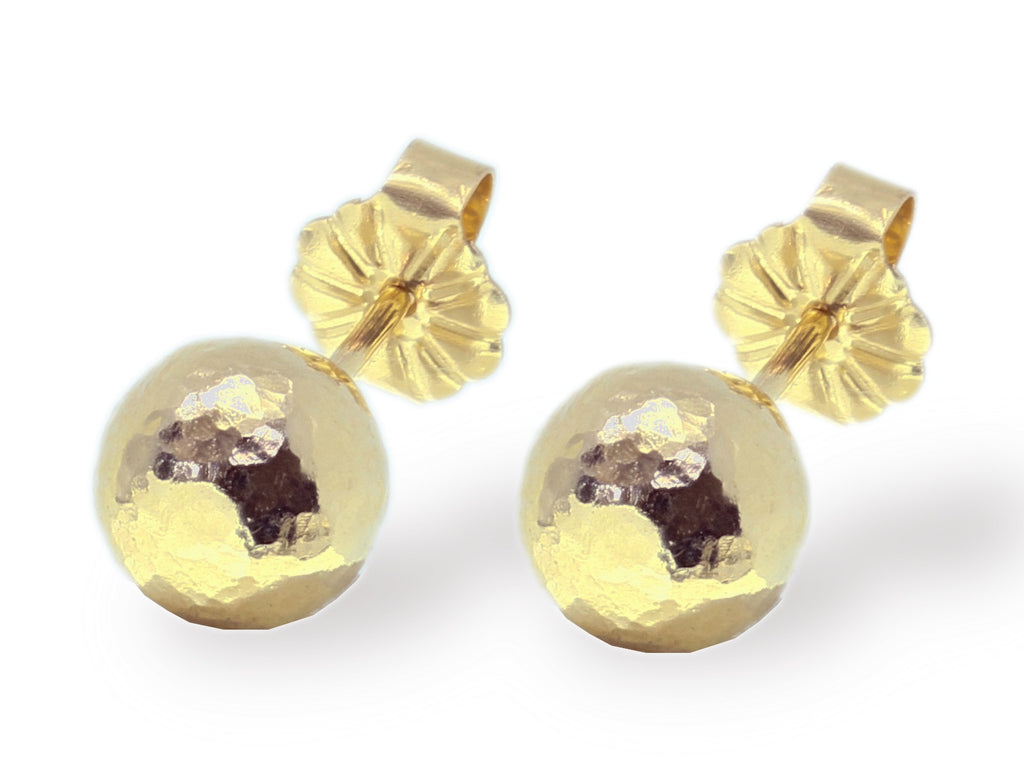 Medium gold hammered ball earrings