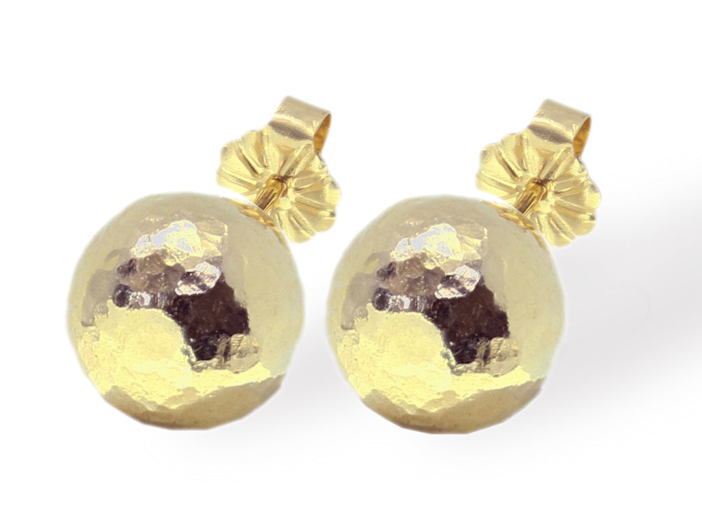 Large gold hammered ball stud earrings
